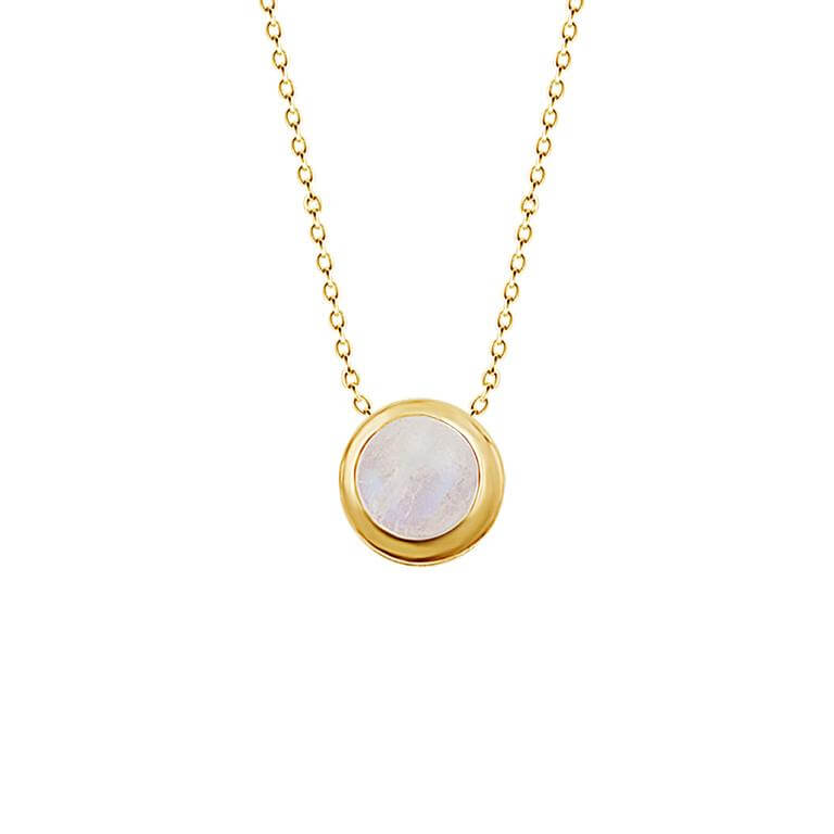 Gold Plated Sterling Silver 5mm Moonstone 16 Inch Necklace