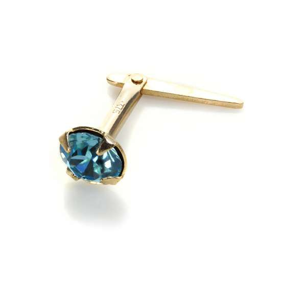 Andralok 9ct Yellow Gold Aquamarine Crystal 3.5mm Nose Stud