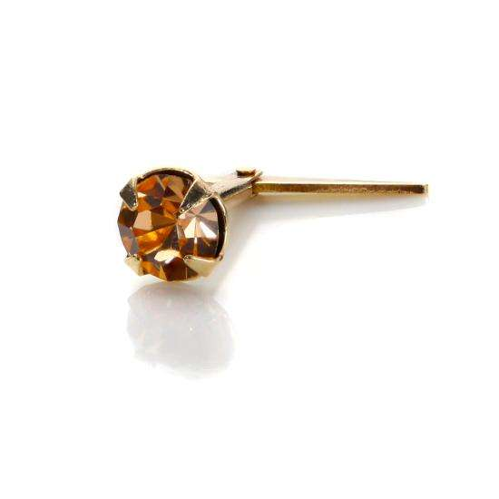 Andralok 9ct Yellow Gold Peach Crystal 3.5mm Nose Stud