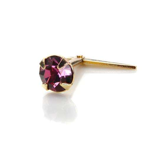 Andralok 9ct Yellow Gold Amethyst Crystal 3.5mm Nose Stud
