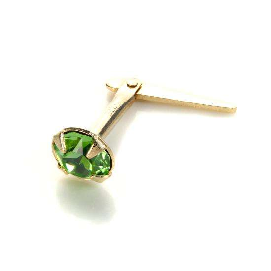 Andralok 9ct Yellow Gold Peridot Crystal 3.5mm August Birthstone Nose Stud