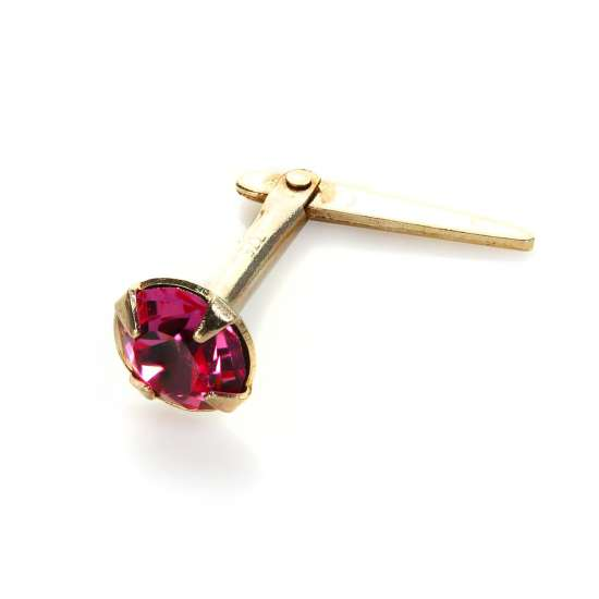 Andralok 9ct Yellow Gold Rose Crystal 3.5mm Nose Stud