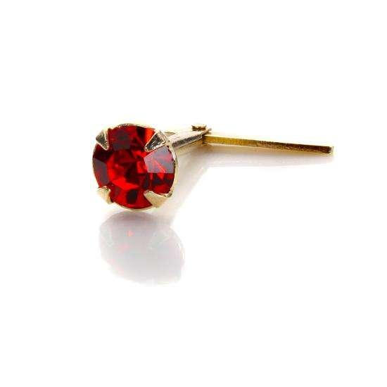 Andralok 9ct Yellow Gold Light Siam Crystal 3.5mm Nose Stud