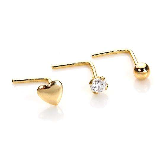 9ct Yellow Gold Heart Bead & Crystal 2mm Nose Stud Set