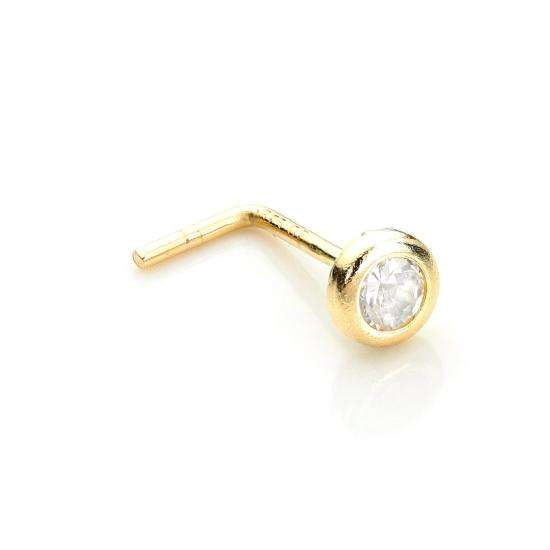 9ct Yellow Gold Clear Crystal 2.75mm Round Nose Stud