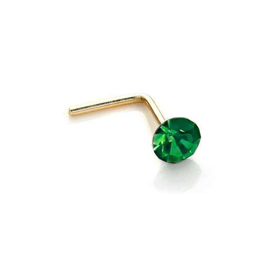 9ct Yellow Gold 2.8mm Round Emerald Crystal Nose Stud L Pin