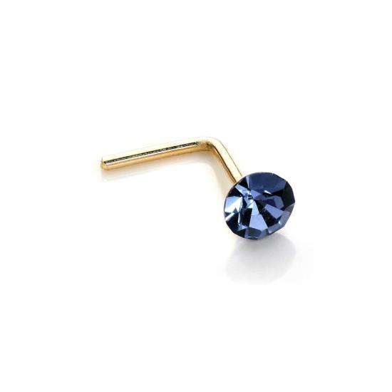 9ct Yellow Gold 2.8mm Round Montana Crystal Nose Stud L Pin
