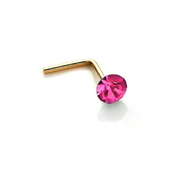 9ct Yellow Gold 2.8mm Round Rose Crystal Nose Stud L Pin