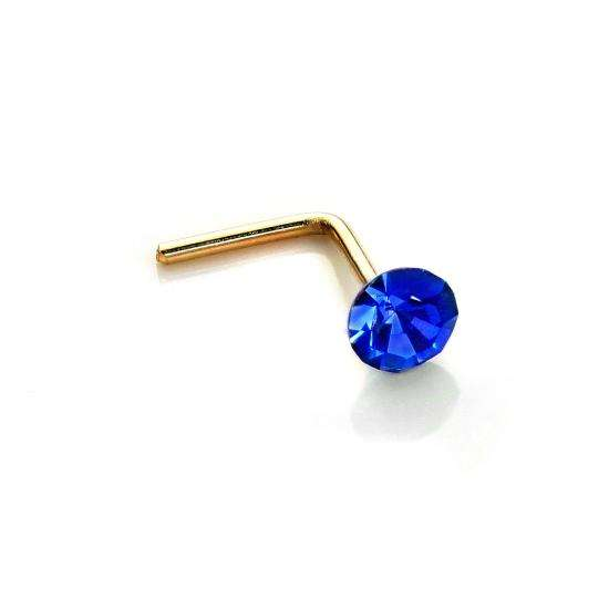 9ct Yellow Gold 2.8mm Round Sapphire Crystal Nose Stud L Pin