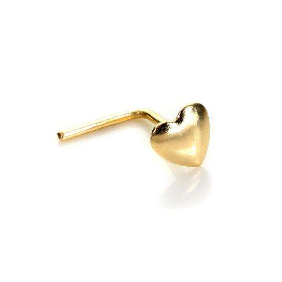 9ct Yellow Gold Heart Nose Stud