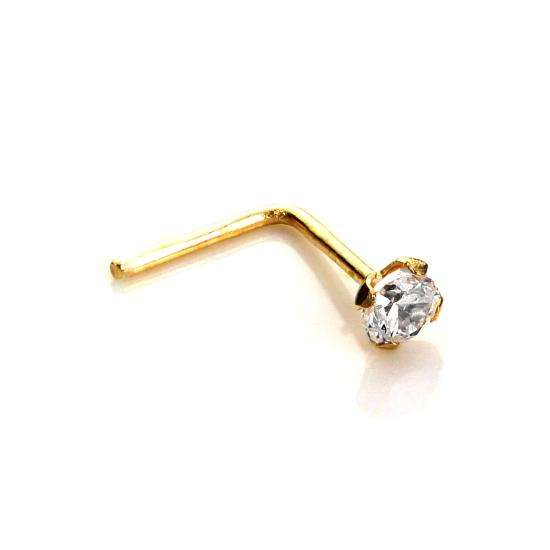 9ct Yellow Gold Clear CZ 2mm Round Nose Stud
