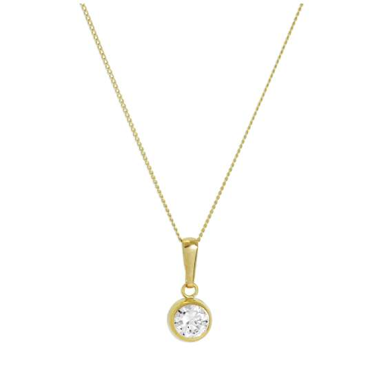 9ct Yellow Gold & Clear CZ Crystal 5mm Round Rubover Pendant Necklace 16 - 20 Inches