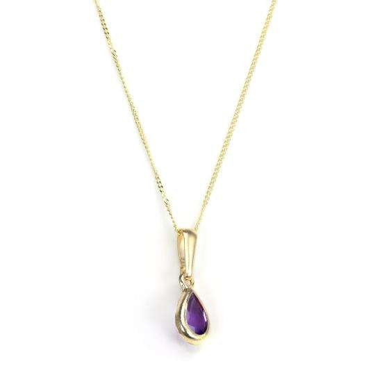 9ct Gold Amethyst Gemstone February Birthstone Pendant