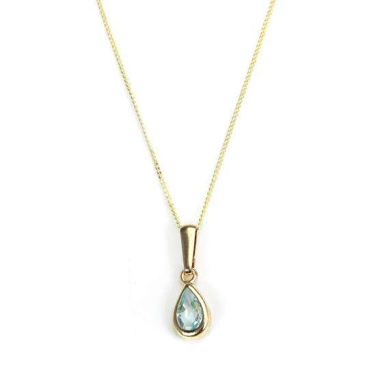 9ct Gold Aquamarine Crystal March Birthstone Pendant