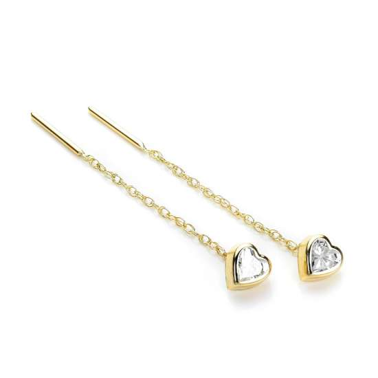 9ct Yellow Gold Clear CZ 5mm Heart Pull Through Earrings
