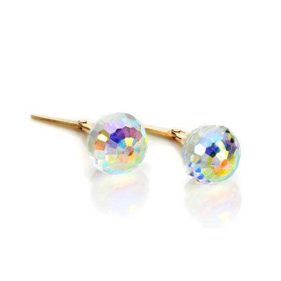 Andralok 9ct Yellow Gold Clear Crystal Small Faceted Stud Earrings