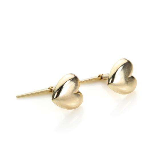Andralok 9ct Yellow Gold Domed Heart Stud Earrings