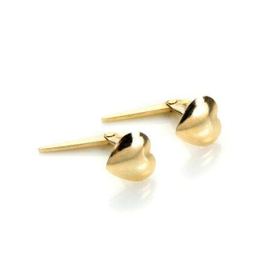 Andralok 9ct Yellow Gold Small Plain Heart Stud Earrings