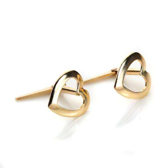 Andralok 9ct Yellow Gold Pierced Rounded Heart Stud Earrings