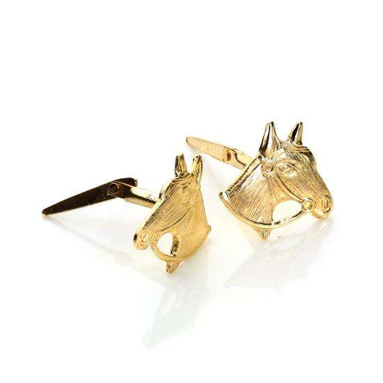 Andralok 9ct Yellow Gold Horse Head Stud Earrings