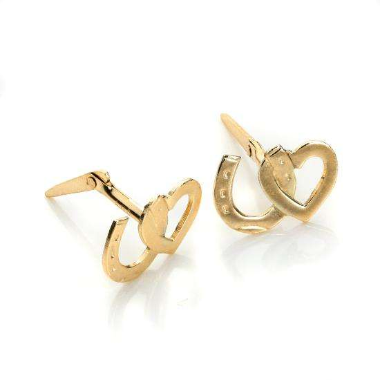Andralok 9ct Yellow Gold Heart & Horseshoe Stud Earrings