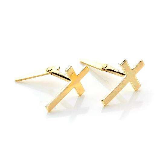 Andralok 9ct Yellow Gold Small Plain Cross Stud Earrings