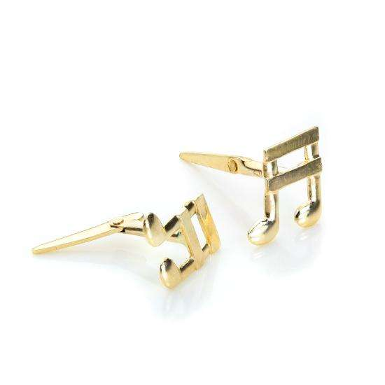 Andralok 9ct Yellow Gold Music Note Stud Earrings