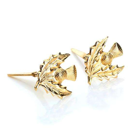 Andralok 9ct Yellow Gold Thistle Stud Earrings