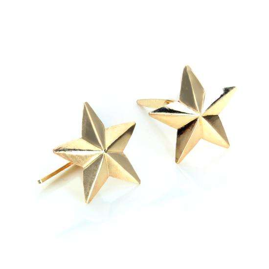 Andralok 9ct Yellow Gold 5 Pointed Star Stud Earrings