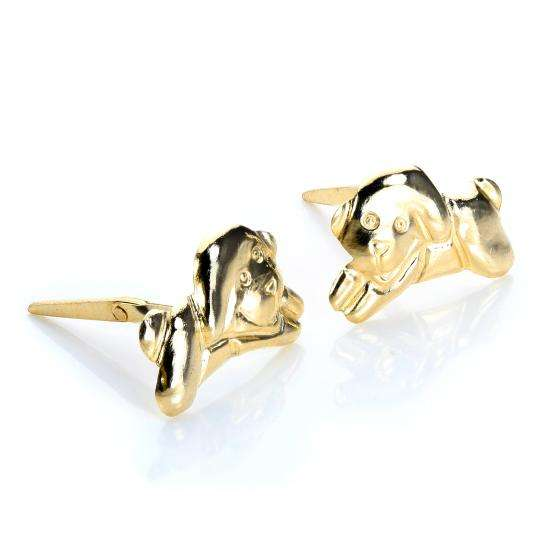 Andralok 9ct Yellow Gold Jumping Puppy Stud Earrings