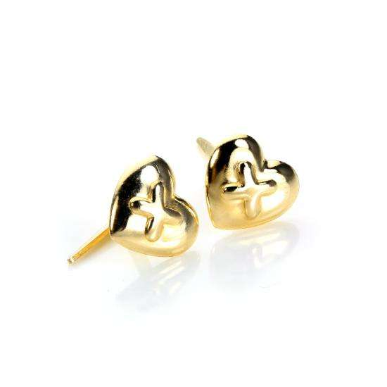 Andralok 9ct Yellow Gold Heart Raised Kiss Stud Earrings