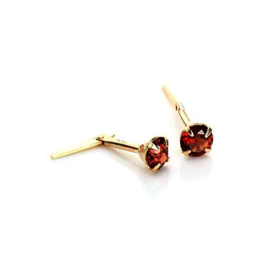 Andralok 9ct Yellow Gold Garnet 3.5mm Round Stud Earrings