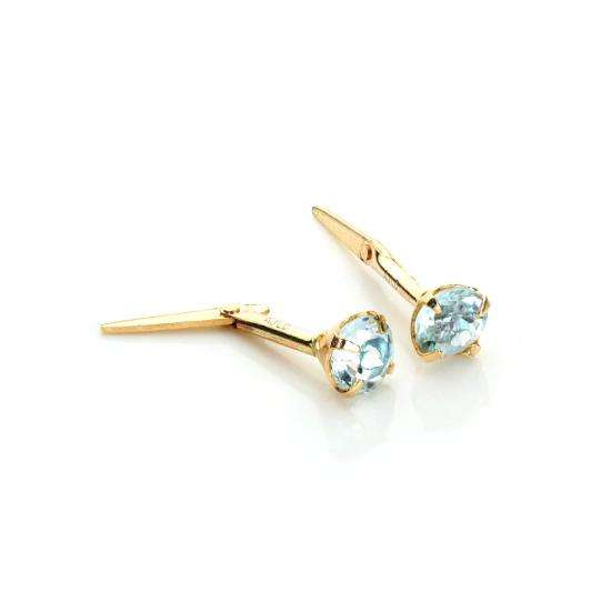 Andralok 9ct Yellow Gold Sky Blue Topaz 3.5mm Round Stud Earrings