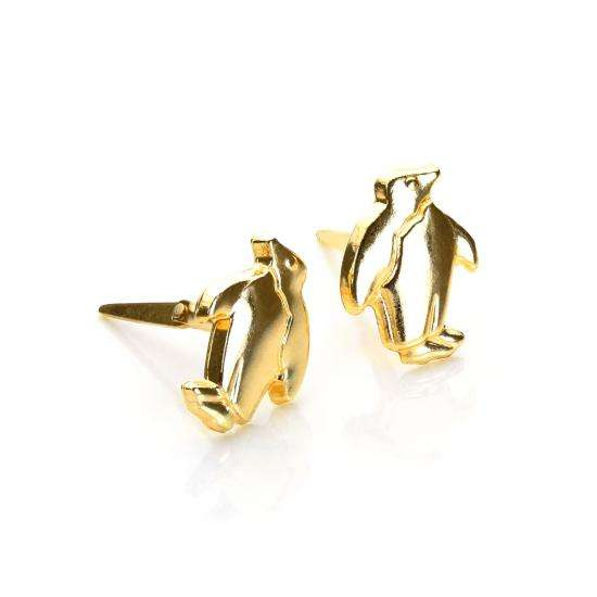 Andralok 9ct Yellow Gold Penguin Stud Earrings