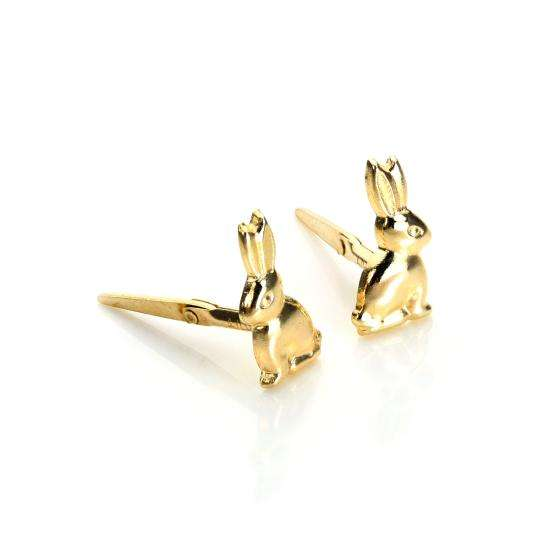 Andralok 9ct Yellow Gold Bunny Rabbit Stud Earrings