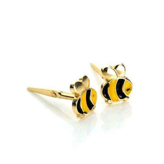 Andralok 9ct Yellow Gold Enamelled Cute Bumblebee Stud Earrings