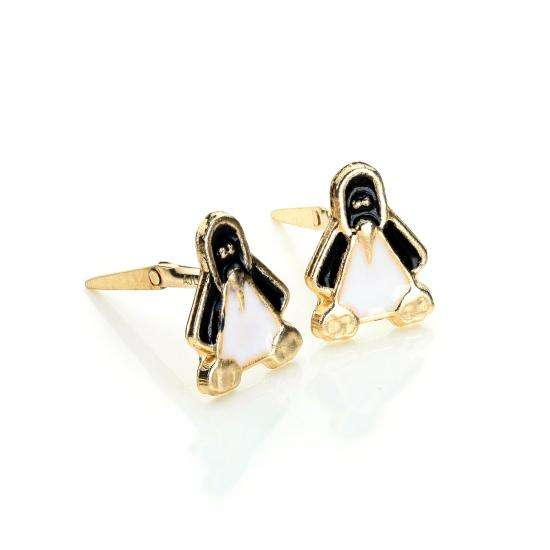 Andralok 9ct Yellow Gold Enamelled Penguin Stud Earrings