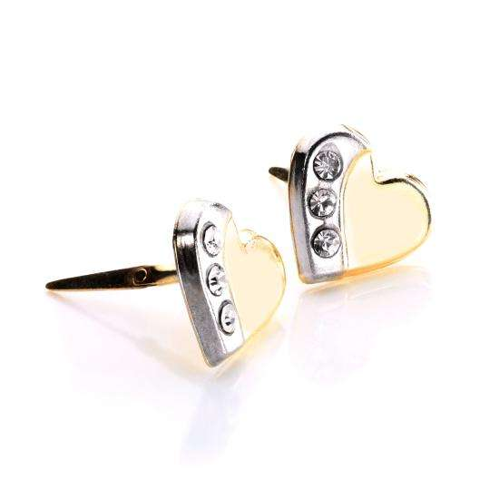 Andralok 9ct Yellow Gold Clear Crystal Rhodium Heart Stud Earrings