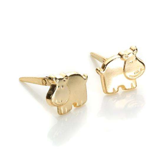 Andralok 9ct Yellow Gold Hippo Stud Earrings
