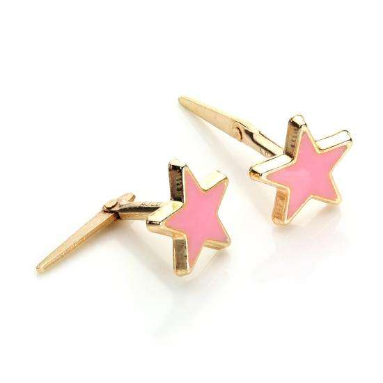 Andralok 9ct Yellow Gold Enamelled Star Stud Earrings