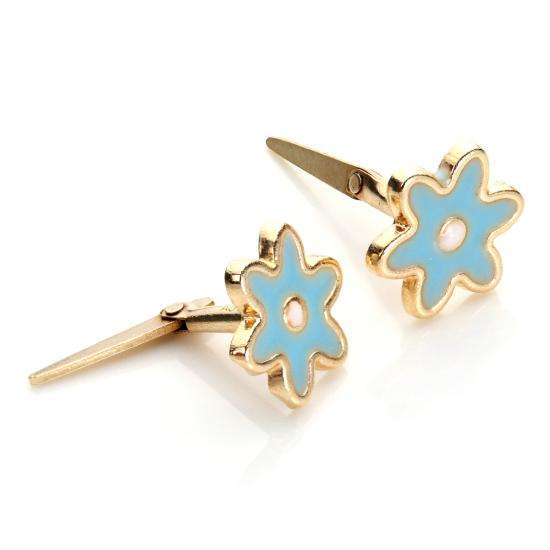 Andralok 9ct Yellow Gold Enamelled Flower Stud Earrings