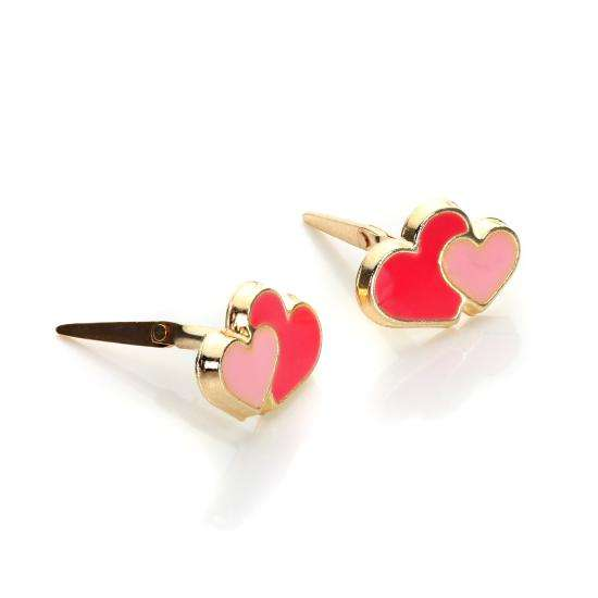 Andralok 9ct Yellow Gold Enamelled Double Heart Stud Earrings