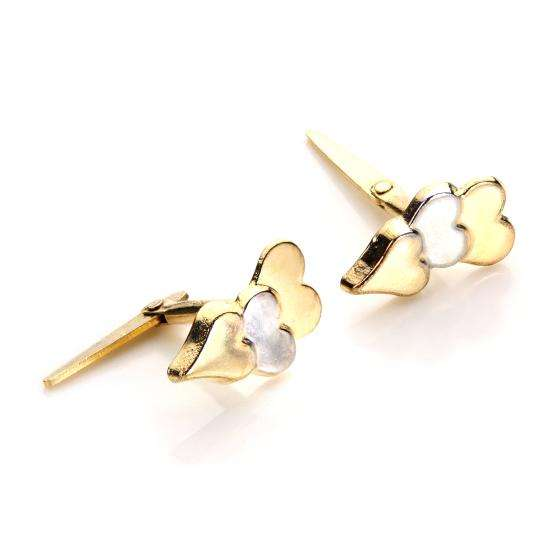 Andralok 9ct Yellow Gold Triple Heart Stud Earrings