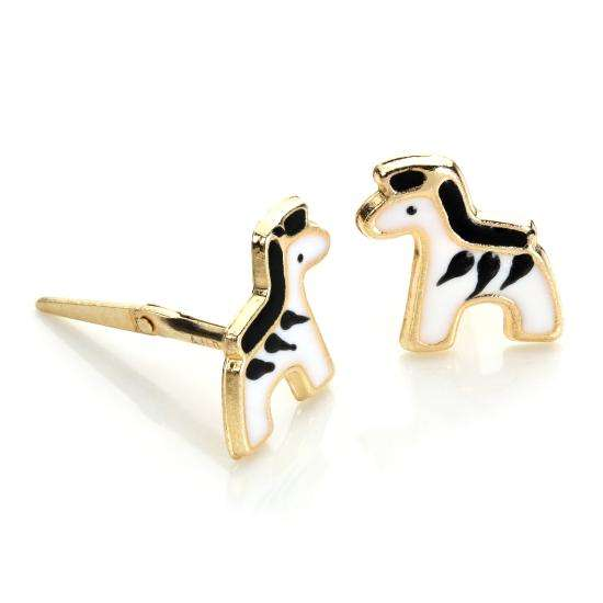 Andralok 9ct Yellow Gold Enamelled Zebra Stud Earrings