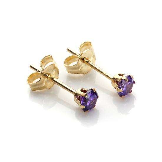 9ct Yellow Gold Amethyst Crystal 3mm Round Stud Earrings
