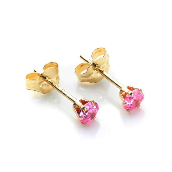 9ct Yellow Gold Pink Crystal 3mm Round Stud Earrings