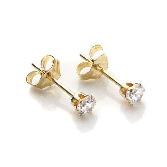9ct Yellow Gold Clear Crystal 3mm Round Stud Earrings