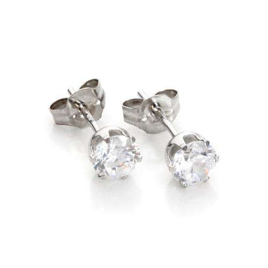 9ct White Gold Clear Crystal 5mm Round Stud Earrings