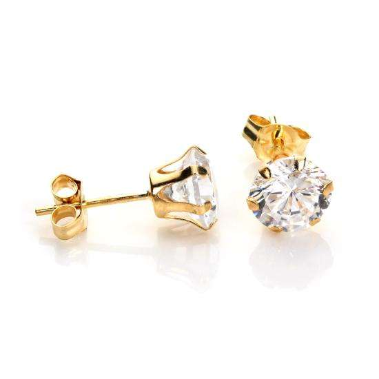 9ct Yellow Gold Clear Crystal 6mm Stud Earrings