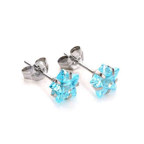 9ct White Gold Aquamarine Crystal 6mm Star Stud Earrings